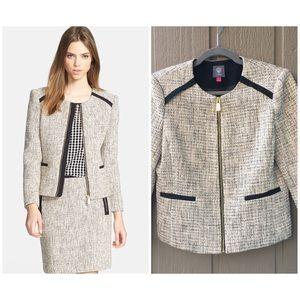 Vince Camuto Tweed Jacket size 4 Gold ZIP